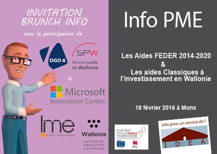 Brunch Info : Les aides FEDER 2014-2020 et les aides à l'investissement en Wallonie - 18/02 à Mons | InfoPME | Scoop.it