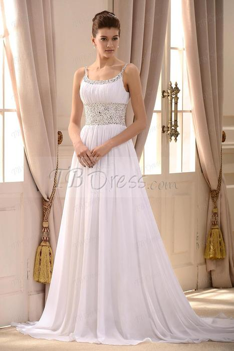 $ 108.69 Gorgeous Empire Spaghetti Straps Sleeveless Beaded Court Train Wedding Dress | Lovely father | Scoop.it