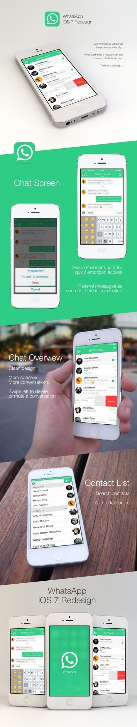 Elegant WhatsApp Design Concept for iOS 7: Sophisticated & Minimal   Smart Phone & Tablets   Scoop.it