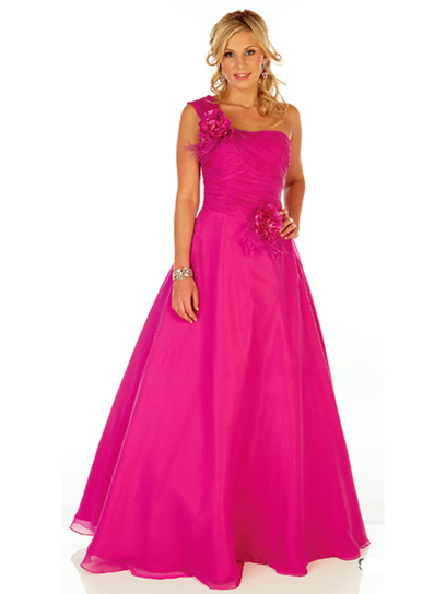 Ball Gown One Shoulder Chiffon Floor-length Sleeveless Flower(s) Quinceanera Dresses at pickedlooks.com | Quinceanera Dresses 2014 | Scoop.it