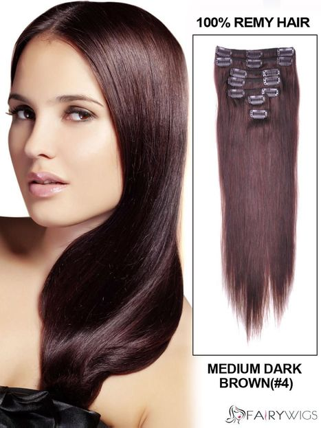 """12""""-30"""" 7 Piece Silky Straight Clip In Indian Remy Human Hair Extension : fairywigs.com 