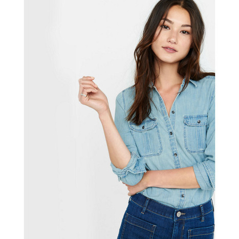 EXPRESS Women's Shirts Fitted Light Wash Denim Shirt | Jeans Fashion | Scoop.it