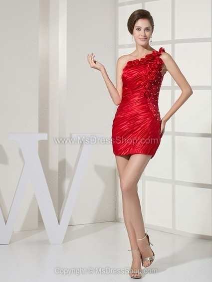 Sheath/Column One Shoulder Elastic Woven Satin Short/Mini Ruffles Homecoming Dresses | Cocktail dresses online | Scoop.it