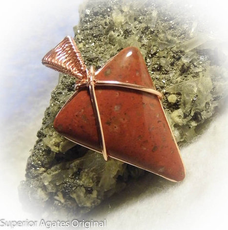 Minnesota Red Jasper Wire Wrapped  Man's Copper Stone Pendant | Blarney_Stone Antiques and Collectibles | Scoop.it