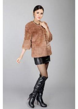 Women's Furs :: Fur Jackets :: Rabbit :: Full Skin Rex Rabbit Fur Jacket with Round Collar - | furs | Scoop.it