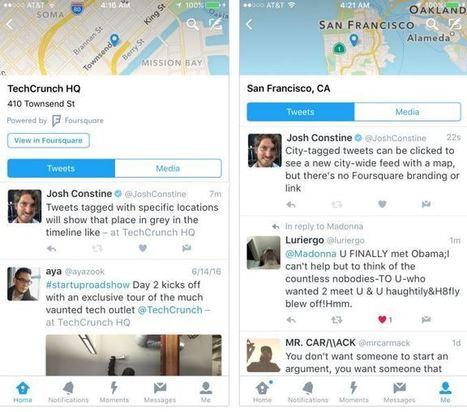 Twitter crée la Timeline des Tweets géolocalisés avec Foursquare | Web information Specialist | Scoop.it