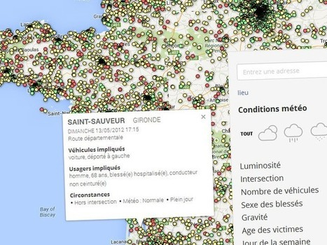 La carte de (presque) tous les accidents de la route en 2012 - Rue89 | Open datas | Scoop.it