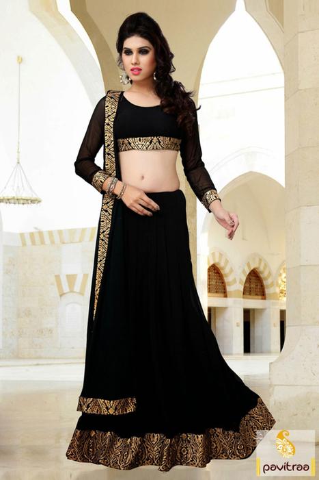 Black Golden Georgette Party Wear Saree   Pavitraa   Scoop.it