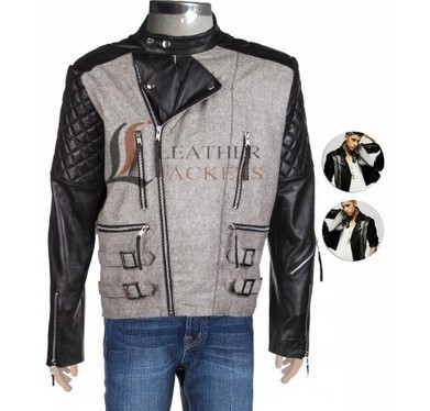 Black Leather Jacket with Contrasting Tweed | Unique collection of celebrity jackets its now | Scoop.it