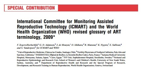 (EN) (PDF) - Glossary of assisted reproductive technology (ART) | International Committee for Monitoring Assisted Reproductive Technology (ICMART) | Glossarissimo! | Scoop.it