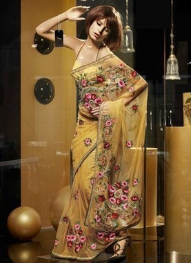 Marvelous Gold Yellow Color Embroidered Saree | I don't do fashion, I am fashion | Scoop.it