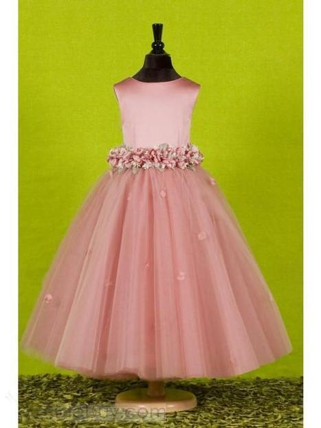 Attractive A-Line Ankle-length Round-neck Flowers Embellishing Flower Girl Dress   wedding time   Scoop.it