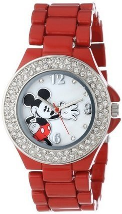 ###  MK2071 Disney Womens MK2071 Mickey Mouse Mother-of-Pearl Dial Red Enamel Bracelet Watch Disney | Cheap Casual Watches Men | Scoop.it