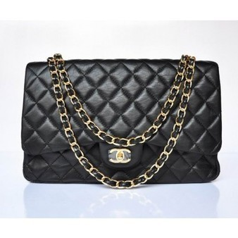 Chanel 2.55 Bag 47600 Black Lambskin With Gold Chain Perfect present | Chanel Handbags Outlet Online | Scoop.it