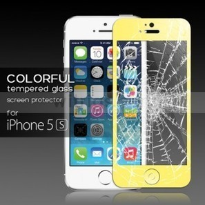 Tempered Glass Protective Film with Home Button Sticker for Apple iPhone 5S Yellow - Witrigs.com | Do iphone 5s need screen protectors | Scoop.it