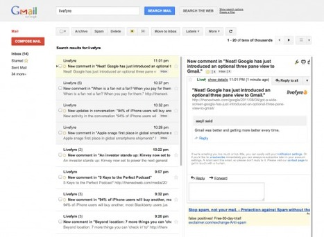 Neat! Google has just introduced an optional three pane view to Gmail. | Web Technology News | Scoop.it
