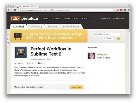 Perfect Workflow in Sublime Text: Free Course! | Nettuts+ | F2E | Scoop.it