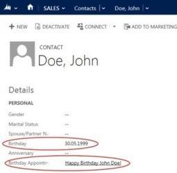 Handle birthdays in Microsoft CRM 2011/2013 | MS Dynamics CRM | Scoop.it