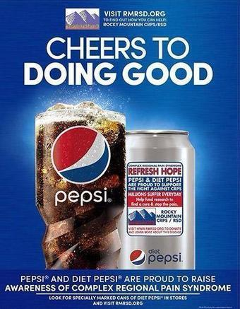 """Taylor Poor sur Twitter : """"Pepsi is raising awareness for RSD/CRPS! This was just a huge encouragement to my day. http://t.co/biqB9pfVJG"""" 