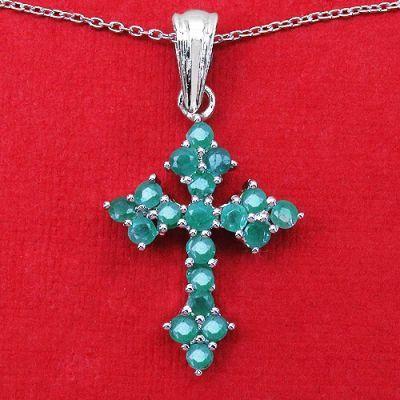1.33CTW Genuine Emerald .925 Sterling Silver Cross Shape Pendant   Online Jewellery Shopping in India   Scoop.it