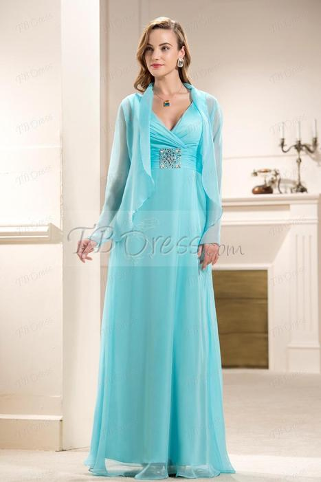 Attractive Beaded Ruched A-Line V-Neck Floor-length Mother of the Bride Dress | skirt | Scoop.it