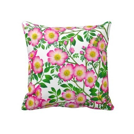 Pretty Pink Wild Roses Floral Pillow from Zazzle.com | Pillows | Scoop.it