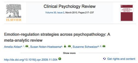 Emotion-regulation strategies across psychopathology: A meta-analytic review | Papers on Emotion regulation and Emotional disorders -  Articles sobre Regulació emocional i trastorns emocionals | Scoop.it