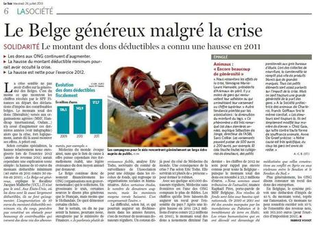 VEF-AERF : La générosité des Belges... ne diminue pas! | Récolte de fonds | Scoop.it