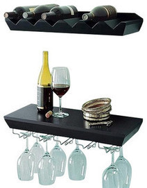 Wall Mounted Wine Shelf with Glass Holder Set - contemporary - wall shelves - by Welland Industries LLC | Good Vibes | Scoop.it