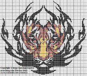 Grille gratuite point de croix tigre tribal - Grilles gratuites point de croix dmc ...