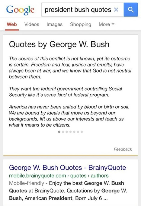 Google Now Shows Quotes For Famous People Without Sourcing Them | Social Media and Internet Marketing | Scoop.it