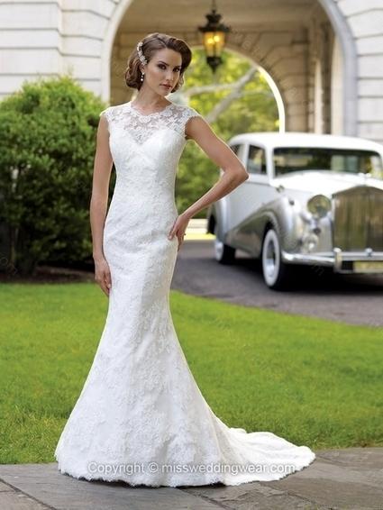 Trumpet/Mermaid Scoop Lace Satin Sweep Train White Buttons Wedding Dresses   2014 wedding dress online   Scoop.it