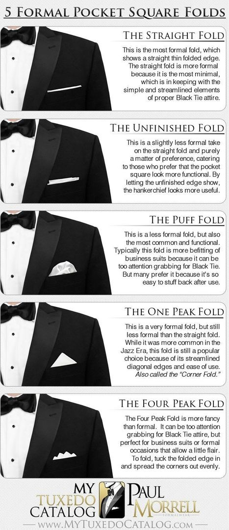 5 Formal Pocket Square Folds | Tips for the Pc | Scoop.it