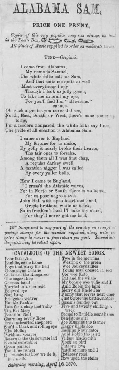 Broadside ballad entitled 'Alabama Sam' | British Genealogy | Scoop.it
