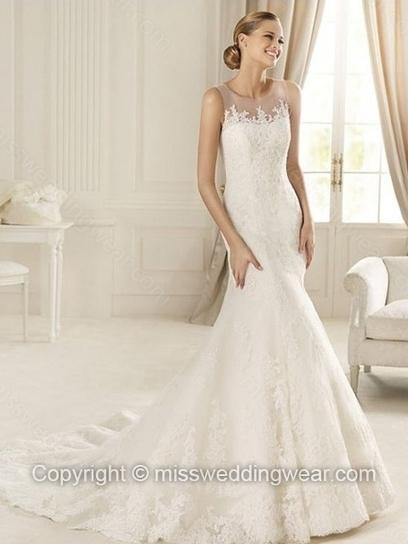 Trumpet/Mermaid Scoop Lace Tulle Court Train Appliques Wedding Dresses   2014 wedding dress online   Scoop.it