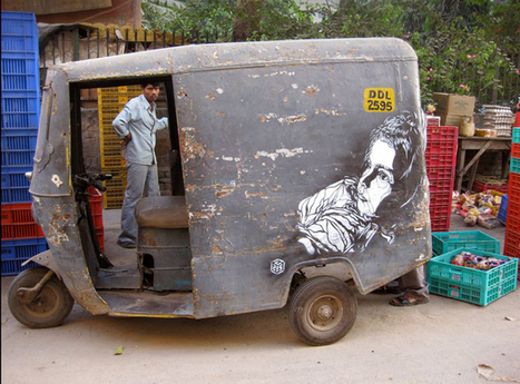 Stencil street art by french artist c215 on the streets of New Delhi, India. | Share Some Love Today | Scoop.it