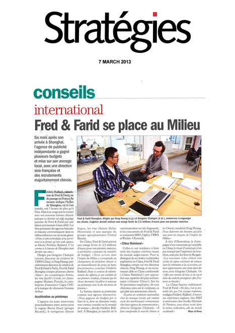 FRED & FARID se place au Milieu | FRED & FARID GROUP IN THE NEWS | Scoop.it