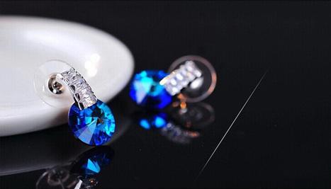 Mysterious Ocean Blue Swarovski Crystal Earrings - DearyBox | Jewellery On-line Boutique Shop | DearyBox.co.uk | Women's Earrings | Scoop.it