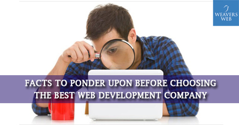 Facts to Ponder Upon Before Choosing the Best Web Development Company | Web Design, Development and Digital Marketing | Scoop.it