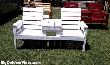 DIY Large Double Chair Bench with Table Plans | MyOutdoorPlans | Free Woodworking Plans and Projects, DIY Shed, Wooden Playhouse, Pergola, Bbq | Garden Plans | Scoop.it