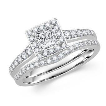 Princess-Cut Diamond Ring and Bridal Wedding Set in 14k white gold | Wedding Ring | Scoop.it