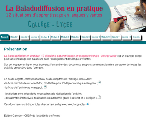 La Baladodiffusion : 12 situations d'apprentissage en langues vivantes Collège-Lycée | | Pédagogie et web 2.0 | Scoop.it