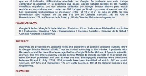 Google Scholar Digest: Índice H de las Revistas Científicas Españolas según Google Scholar Metrics (2011-2015) | Educación flexible y abierta | Scoop.it
