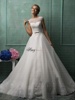 Cheap White Organza Lace Sleeveless Wedding Dresses Sale at Amydress.co.uk | amydress | Scoop.it