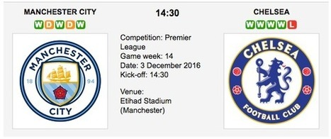 Manchester City vs. Chelsea: Match preview - 03/12/2016 EPL | Free betting tips on football,tennis,hockey & more | Scoop.it