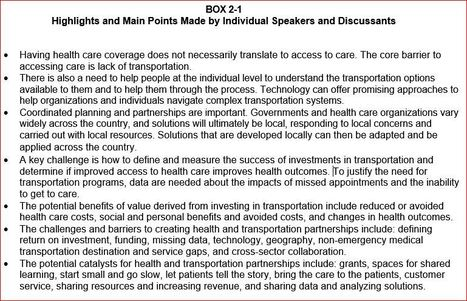 Exploring Data and Metrics of Value at the Intersection of Health Care and Transportation | Living Health Systems | Scoop.it
