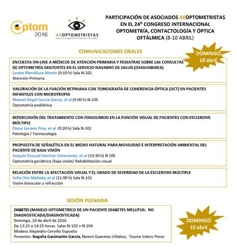 Participación asociados AEOPTOMETRISTAS en OPTOM 2016. Comunicaciones orales   Salud Visual (Profesional) 2.0   Scoop.it