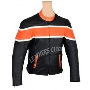Black And Orange Color Biker Jacket For Men's   Men's Leather Jackets   Scoop.it