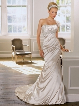 Column One-shoulder Beading Taffeta Sweep Train Wedding Dress at Millybridal.com | wedding and event | Scoop.it