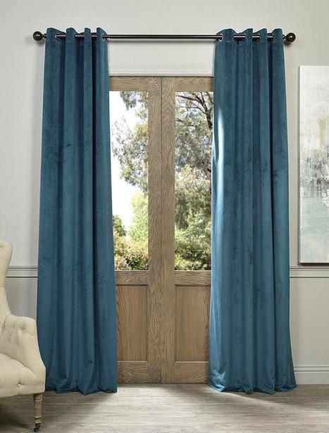 Signature Everglade Teal Grommet Blackout Velvet Curtain | window curtains | Scoop.it